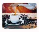Mehul Melamine Black Coffee Design Square Serving Tray, 3 Pcs