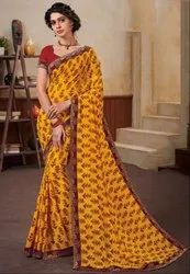 Golden Yellow Georgette Saree with Double Blouse
