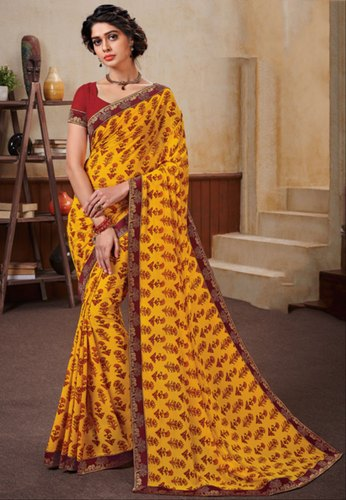 a82cf44a55d45c Printed Party Wear Golden Yellow Georgette Saree With Double Blouse ...