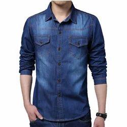 Mens Denim Blue Slim Fit Shirt, Size: 38-44