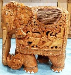 Wooden Shikar Elephant Statue