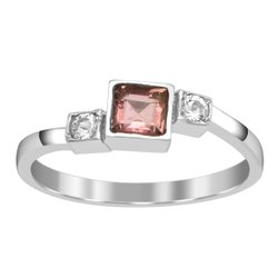 Awesome  925 Silver  Square Cut Pink Tourmaline Gemstone Women Ring