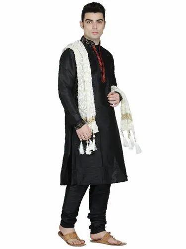 Skavij Men s Dupion Art Silk Party Wear Sherwani - Set Of 3 (Kurta ... 5e1e5cbab