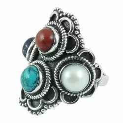 Classy Design 925 Silver Coral Pearl Ring