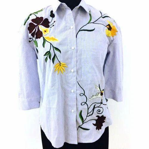 dc8c76e3a17a3d Cotton Casual Ladies Designer Shirt