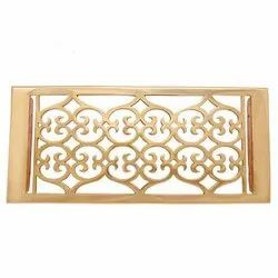 Flower Brass Wall Register with Louver - 6inch x 14inch (7-1/8inch x 15-3/4inch Overall)