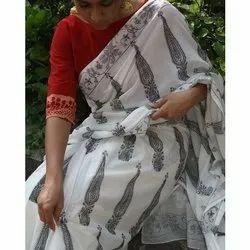 Casual Wear Printed Ladies Handoom Cotton Saree, 6.3 m (with blouse piece)