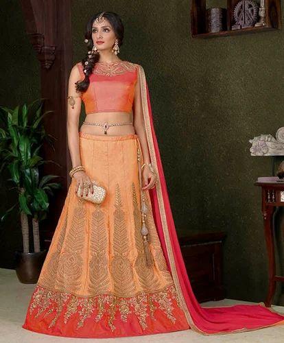 1dd61d3bdd Peach Colour Silk Heavy Designer Work Lehenga Choli, Lehenga Choli ...