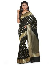 Women Black Cotton Saree