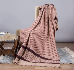 Brown Dot and Striped Printed Mud Cloth Sofa Throw