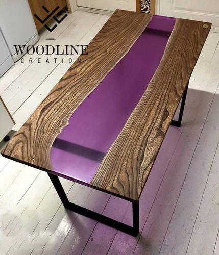 Epoxy Resin Teak Wood Table Top