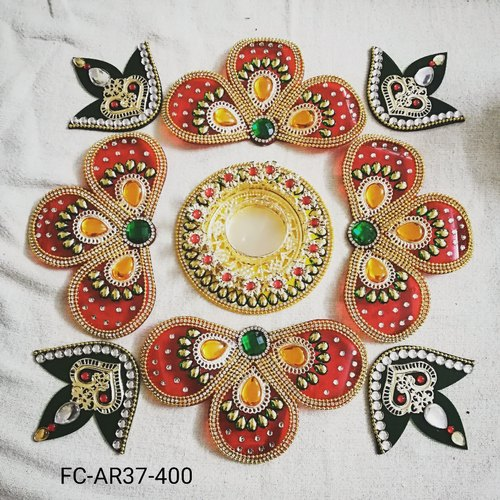 Acrylic Kundan Designer Rangoli Flower Shaped