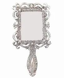 Polished Rectangular White Metal Hand Designer Mirror, For Household, Packaging Type: Box