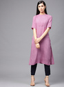 Purple Solid Straight Kurta