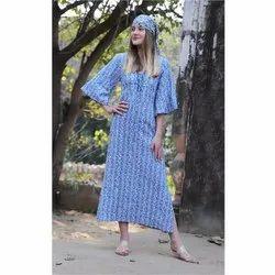 Printed Ladies Cotton Long Dress, Size: S-l