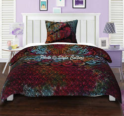 Mandala Printed Reverse Duvet Cover With Two Pillow Covers