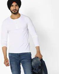 Male Long Sleeve VEIRDO 100 Percent Cotton White Solids T-Shirt