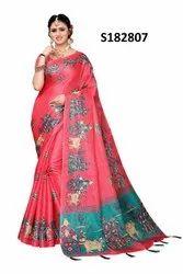 Indian Silk Saree with Jhumka