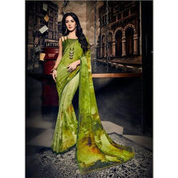 Ladies Pure Georgette Digital Printed Saree, Length: 5.5 m