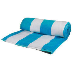 Blue And White Cotton Cabana Beach Towel, Packaging Type: Packet