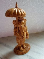 Wooden Ganesh Statue With Umbrella