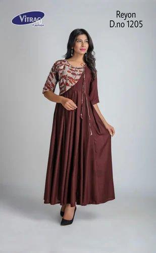 Achkan Stitched Vitrag Party Wear Long Rayon Kurti