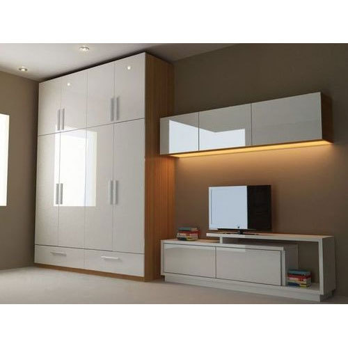 Bedroom Cupboards Inside Designs Brown Leather Bed Bedroom Ideas Bedroom Sets Canada Light Blue Bedroom Colours: Plywood White And Brown Wardrobes, Thickness: 8 & 19 Mm