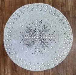 Seed Beaded Handmade Embroidery Round Table Place Mats, Size: 15x15 inch