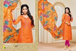 Round Neck Khwaish Salwar Suit Fabric