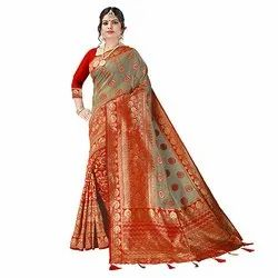 1589 Ladies Trendy Jacquard Silk Saree