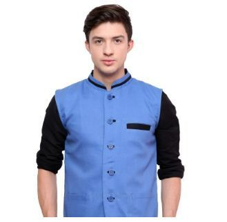 Blue Smart Casual Nehru Jacket Mens Koti Modi Jacket न हर