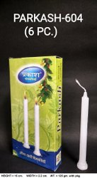 Parkash-604 Plain White Candles (6pcs / Pkt)