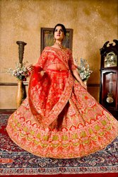 London beauty Valvet Red color bridal collection, Lehenga,Blouse And Dupatta, Size: Free Size
