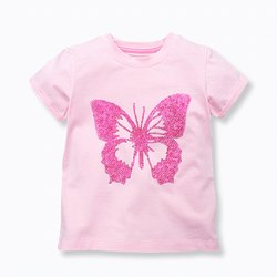 Half Sleeve Round Baby Girls T-shirt, Size: 6 to 12 yrs