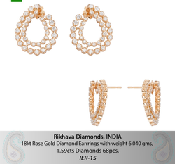 Real Diamond Earring, Packaging Type: Box