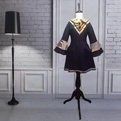 Navy Blue Casual Wear Baby Designer Short Dresses, Full Sleeves