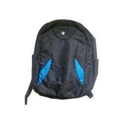 Polyester Blue And Black Backpack
