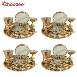 Choozee - Copper Thali Set of 4 (48 Pcs) Plate, Bowl, Spoon, Matka Glass, Ice-Cream Cup, Knife