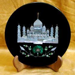 Black Marble Inlay Taj Mahal Plate