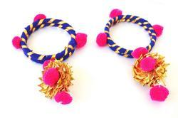 Pink Blue Gota Patti Bangles For Women & Girls