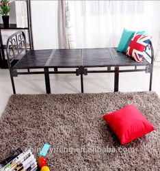 Bed Folding Vintage Strong Metal Powered Coated Single Bed