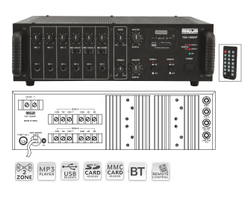 Tza-1500dp Pa Mixer Amplifiers With Digital Player