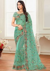 Aqua Mint Embroidered Net Saree