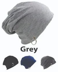 Ring Beanie Cotton Grey Caps