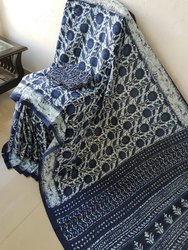 Bagru Hand Block Printed Indigo Cotton Mulmul Saree