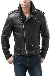 Luis Leather Black mens tough black lambskin leather jacket biker jacket