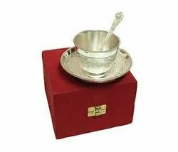 Silver Plated Brass Cup & Saucer Set with Spoon (Cup 3 Diameter & Saucer 5 Diameter)