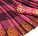 Pink and Maroon Checkered Chettinad Cotton Saree