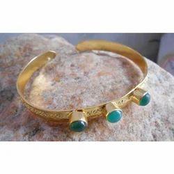 Handmade Gold Plated Brass Onyx Gemstone Bangles