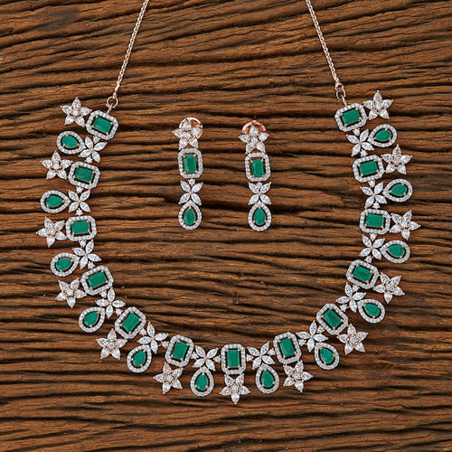 2c464280a3e Green And White Rose Gold Plated Handmade CZ Necklace Set 62251 ...